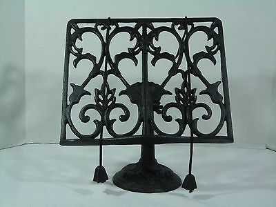 Vintage Adjustable Cast Iron Book Stand With Page Weights (806)