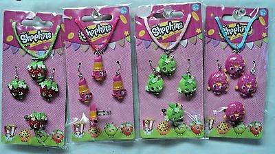 4 Shopkins New JEWELRY SETS Necklace Earrings Ring Apple Strawberry Lips Donut