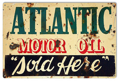 "Reproduction ATLANTIC Motor Oil Sold Here Metal Sign 12""x18"""