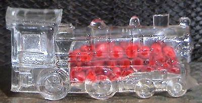 Vintage Glass Candy Container Train Engine Locomotive #888 w/ Original Candy VTG