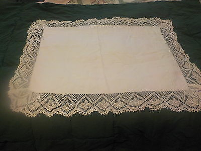 Antique Linen Pillowcase With Buttons, Embroidery & Crocheted Edges