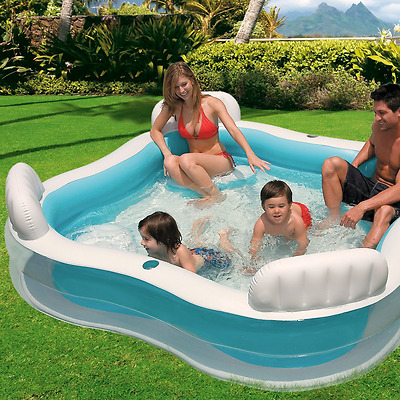 Family Lounge Pool 4 Inflatable Seats Swimming Paddling Kids Portable Intex