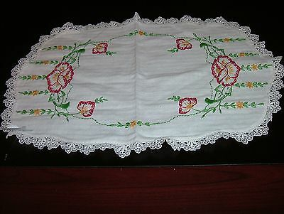 Vintage Linen Hand Embroidered Doily Oval Poppies+ Filler Flowers Lace Trim