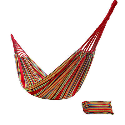 Cotton Rope Camping Hanging Hammock Durable Woven knot Outdoor Swing Canvas Bed