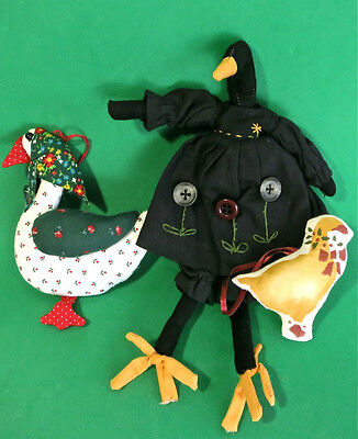 Retro VTG Handcrafted Plush Stuffed Xmas Goose Ornaments & Black Duck Decoration