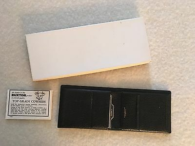 Vintage NEW Lord Buxton Black Top Grain Cowhide Leather Thinfold Wallet