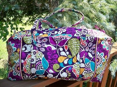 VERA BRADLEY Large Duffel Travel Vacation College Bag Plum Crazy