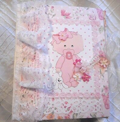 BABY GIRL Handmade Mini Album Scrapbook for baby's 1st year lace, flowers, pink