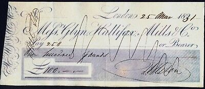 GLYN, HALLIFAX, MILLS & CO (Bankers) Old 1831 CHEQUE. Free UK Post