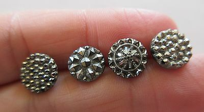 Sparkling Lot of 4 Antique Victorian Lacy Black GLASS BUTTONS w/ Silver Luster