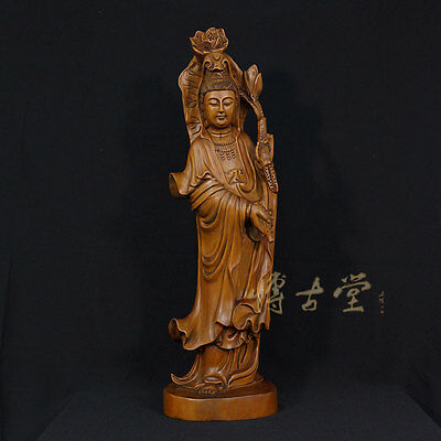 Chinese Antique Wood Carved Kwan Yin Statuary 25X34