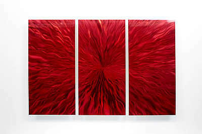 Bright Red Modern Abstract Painting Metal Wall Art Sculpture - Heat Implosion