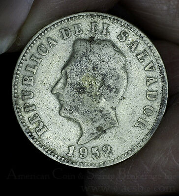 El Salvador 5 Centavos 1952 nickel-silver KM#134a Golden Grey