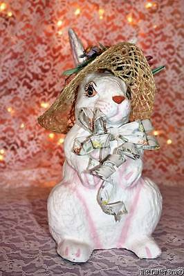 Vintage White Paper Mache Easter Bunny Wearing Straw Hat Shabby Cottage Chic