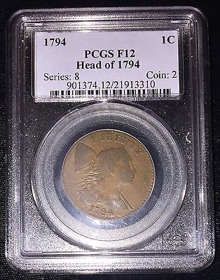 1794 Flowing Hair Large Cent Head of 1794 PCGS F12