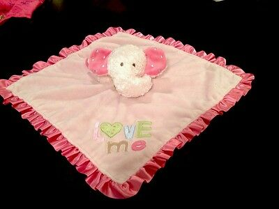 Carters LOVE ME PINK ELEPHANT LOVEY Rattle PLUSH SECURITY BLANKET Soft Toy L@@K