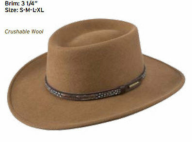 13202eceffa Stetson Water Repellent Crushable Hat - Kelso - Gambler Crown - Driftwood  Size M