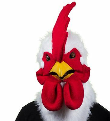 ROOSTER MASK Moving Mouth HEAD Mask Plush Faux Fur THUMBS UP