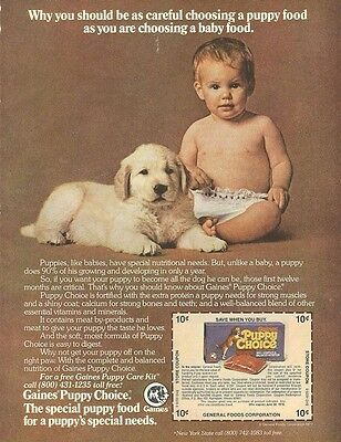 1978 Cute Baby Boy with Dog Gaines Puppy Choice Dog Food Vintage Ad 1 page
