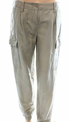 Pure DKNY NEW Beige Women's Size Small S Cargo Linen Solid Seamed Pants #113