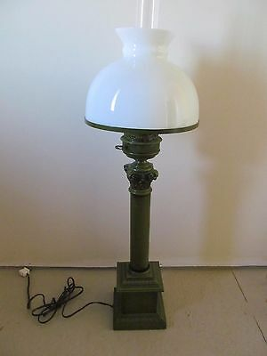 "Vtg Square Metal Table Lamp 32"" Olive Green Glass Shade"