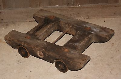 Antique Heavy Wooden Hit & Miss Stationary Engine Cart With Cast Iron Wheels