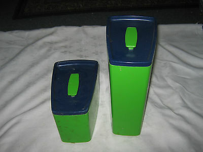 A Pair of Australian 1970's Retro Lime Green & Blue British Plastics Cannisters