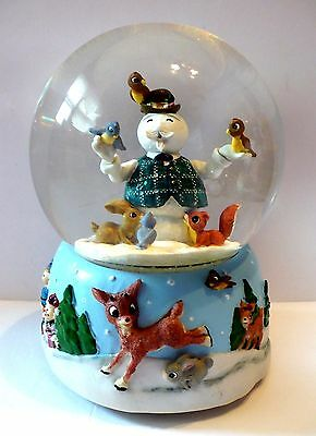 2000 Enesco Rudolph Sam The Snowman And Animals Musical Holiday Water Globe Box