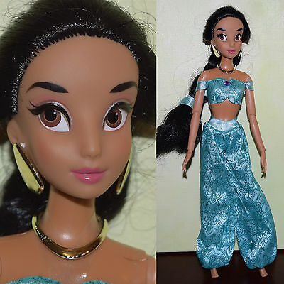 "Disney Store 11.5"" JASMINE DOLL Articulated Jointed Princess w/ Clothes Aladdin"
