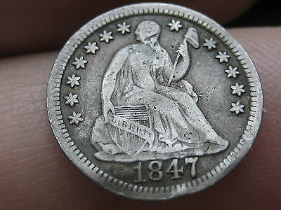 1847 Seated Liberty Half Dime, Fine/VF Details