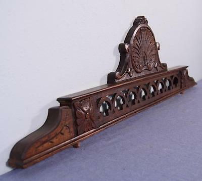 """37"""" Antique French Provincial Style Pediment, Crest or Crown in Oak Wood"""