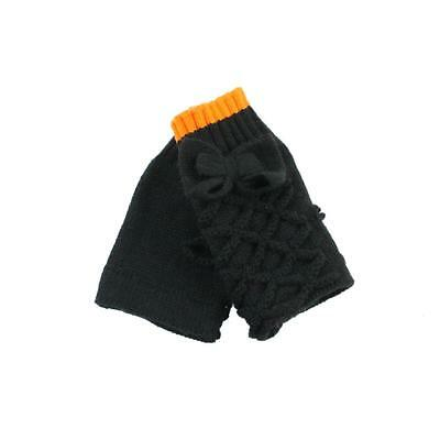 Material Girl 7973 Black Bow Knit Mittens One Size BHFO