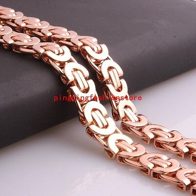6/8/11mm Mens Womens Jewelry Rose Gold Stainless Steel Byzantine Chain Necklace