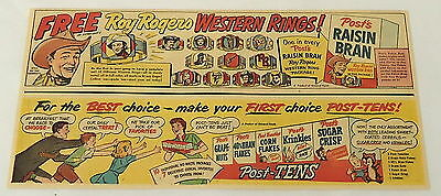 1952 Post cereal~ROY ROGERS free western rings~advertisement