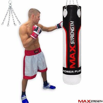 4ft Kick Boxing Punch Bag Hanging Steel Chain Heavy Duty Gym Punching Training