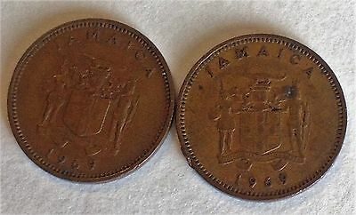 1969 Jamaica One Cent Coins Lot Of 2