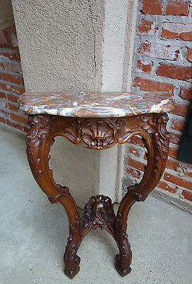 Petite Antique French Carved Oak Console Foyer End Table Marble Louis XV Rococo