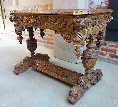 Antique FRENCH Carved BLEACHED OAK WOOD Dolphin Library Desk Renaissance Gothic