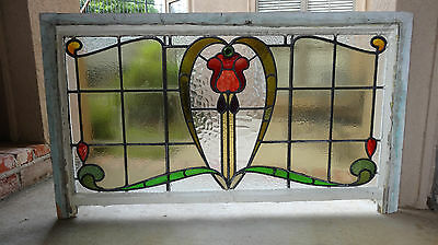 LARGE Antique English Leaded Stained Glass Window 5 color 51 x 29 Architectural