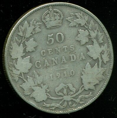 1910  Canada King Edward VII, Silver Fifty 50 Cent Piece