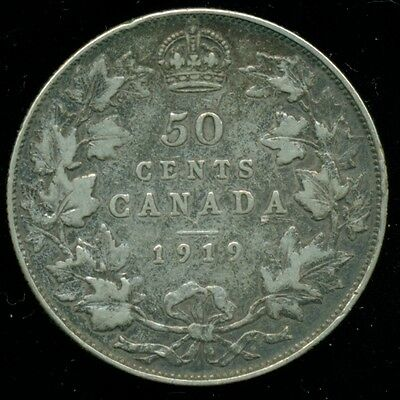 1919  Canada King George V, Silver Fifty 50 Cent Piece