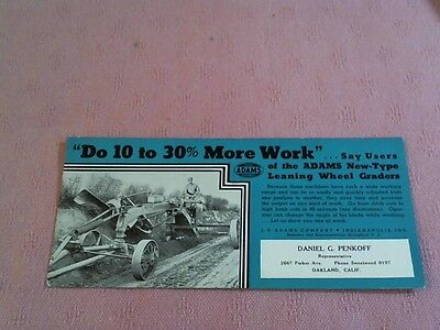 "Adams Leaning Wheel Graders Indianapolis Indiana Advertising 9"" Long Card"