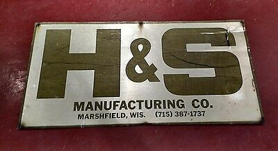 Vintage H & S MANUFACTURING CO MARSHFIELD WIS FARM MACHINERY MFG OLD TIN SIGN