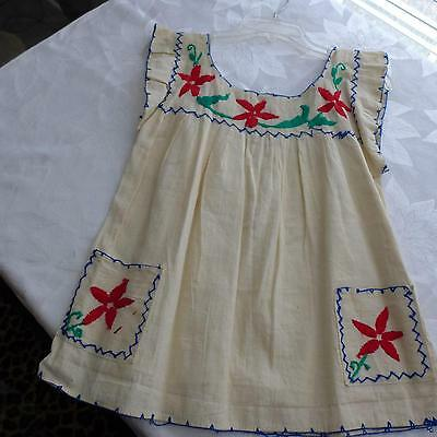 Vtg 60s Hippie Blouse Top MEXICAN Boho Cotton EMBROIDERED  White Gypsy XS-S