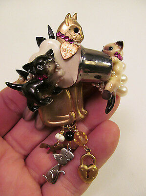 *Vintage Handcrafted Kitty Cat Milk Pail Pin Brooch Jewels by Katrina