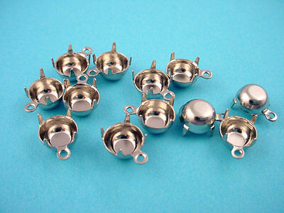silver tone  Round Prong Settings 39SS 8mm 1 Ring Closed Back - 18 Pieces