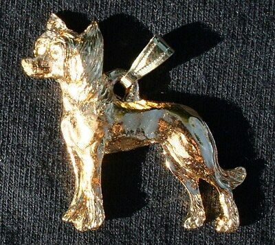 CHINESE CRESTED Dog 24K Gold Plated Pewter Pendant USA Made