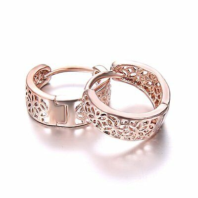 1Pair Women Lady Fashion Rose Gold Hollow Hoop Earrings Charm Jewelry Gifts New