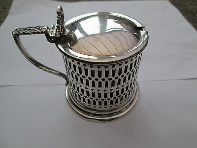 Sterling Silver Mustard Pot With Blue Lining