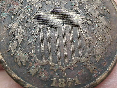 1871 Two 2 Cent Piece- Scarce Date- Fine/VF Shield Details